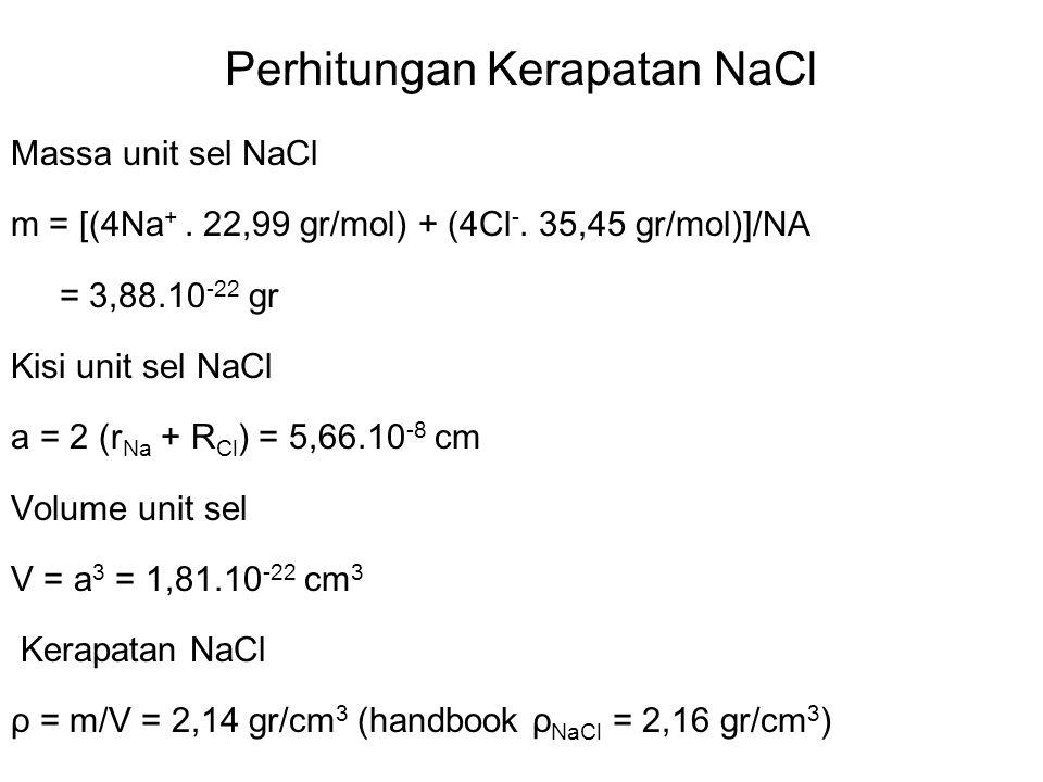 Keramik struktur Oktahedron(NaCl) Rasio r/R ≥ 0,414 ; CN = 6 Cl - Na + r(Na + ) = 0,102 nm R(Cl - ) = 0,181 nm