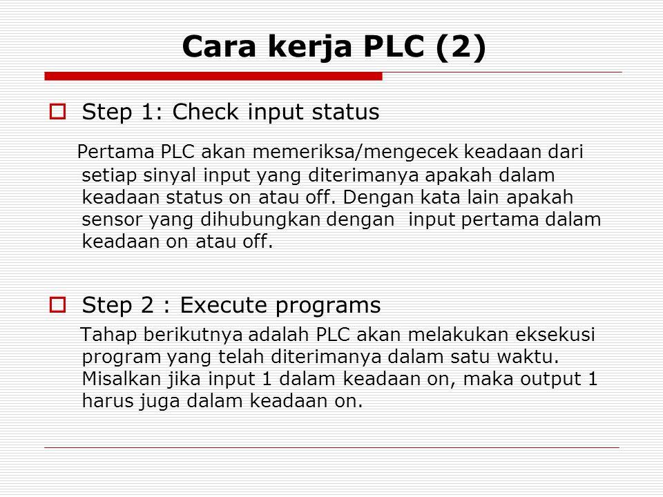 Cara kerja PLC (2)  Step 1: Check input status Pertama PLC akan memeriksa/mengecek keadaan dari setiap sinyal input yang diterimanya apakah dalam kea