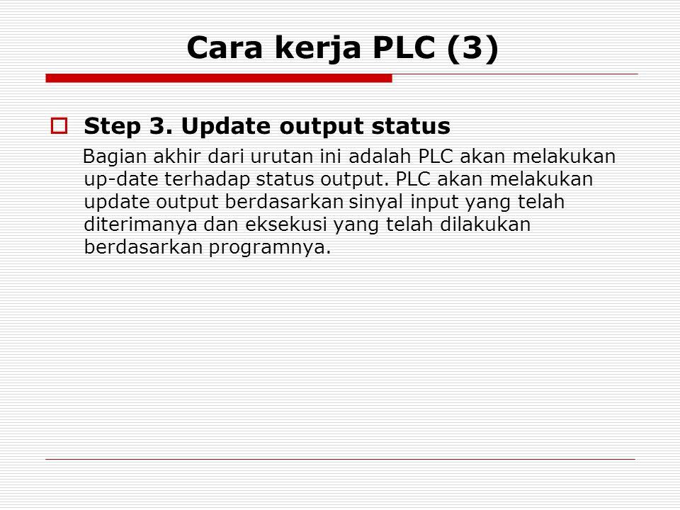 Cara kerja PLC (3)  Step 3. Update output status Bagian akhir dari urutan ini adalah PLC akan melakukan up-date terhadap status output. PLC akan mela