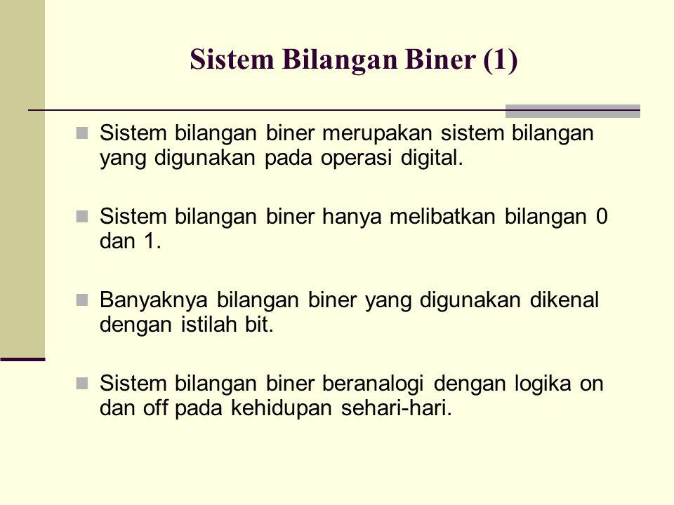 Sistem Bilangan Biner (1) Sistem bilangan biner merupakan sistem bilangan yang digunakan pada operasi digital. Sistem bilangan biner hanya melibatkan