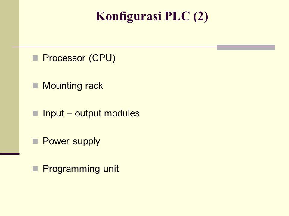 Konfigurasi PLC (2) Processor (CPU) Mounting rack Input – output modules Power supply Programming unit