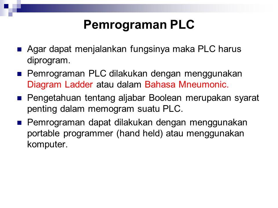 Pemrograman PLC Agar dapat menjalankan fungsinya maka PLC harus diprogram. Pemrograman PLC dilakukan dengan menggunakan Diagram Ladder atau dalam Baha