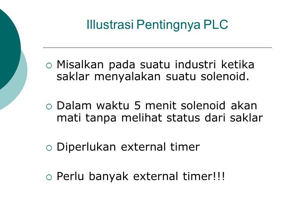 Illustrasi Pentingnya PLC  Misalkan pada suatu industri ketika saklar menyalakan suatu solenoid.  Dalam waktu 5 menit solenoid akan mati tanpa melih