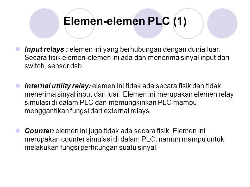 Elemen-elemen PLC (1) Input relays : elemen ini yang berhubungan dengan dunia luar. Secara fisik elemen-elemen ini ada dan menerima sinyal input dari