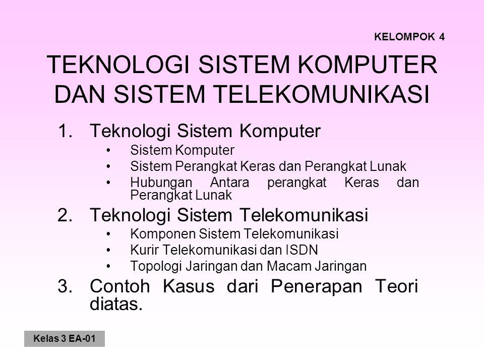 Kelas 3 EA-01 TEKNOLOGI SISTEM KOMPUTER DAN SISTEM TELEKOMUNIKASI 1.Teknologi Sistem Komputer Sistem Komputer Sistem Perangkat Keras dan Perangkat Lunak Hubungan Antara perangkat Keras dan Perangkat Lunak 2.Teknologi Sistem Telekomunikasi Komponen Sistem Telekomunikasi Kurir Telekomunikasi dan ISDN Topologi Jaringan dan Macam Jaringan 3.Contoh Kasus dari Penerapan Teori diatas.