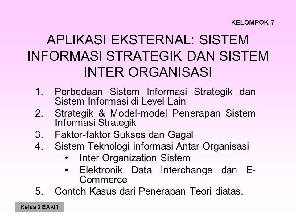 Kelas 3 EA-01 APLIKASI EKSTERNAL: SISTEM INFORMASI STRATEGIK DAN SISTEM INTER ORGANISASI 1.Perbedaan Sistem Informasi Strategik dan Sistem Informasi d