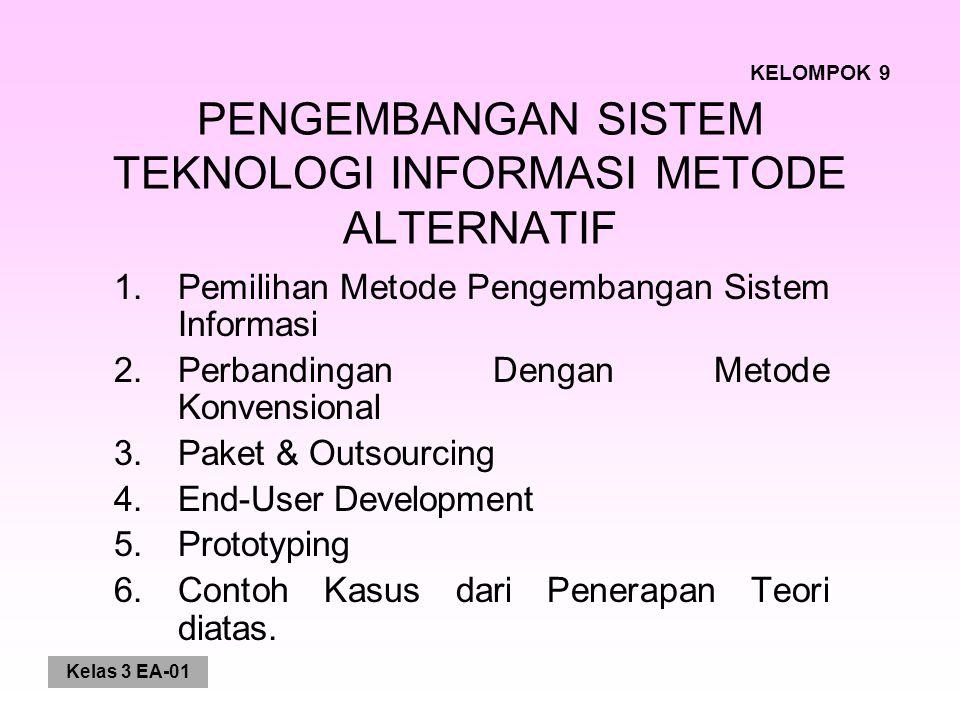 Kelas 3 EA-01 PENGEMBANGAN SISTEM TEKNOLOGI INFORMASI METODE ALTERNATIF 1.Pemilihan Metode Pengembangan Sistem Informasi 2.Perbandingan Dengan Metode