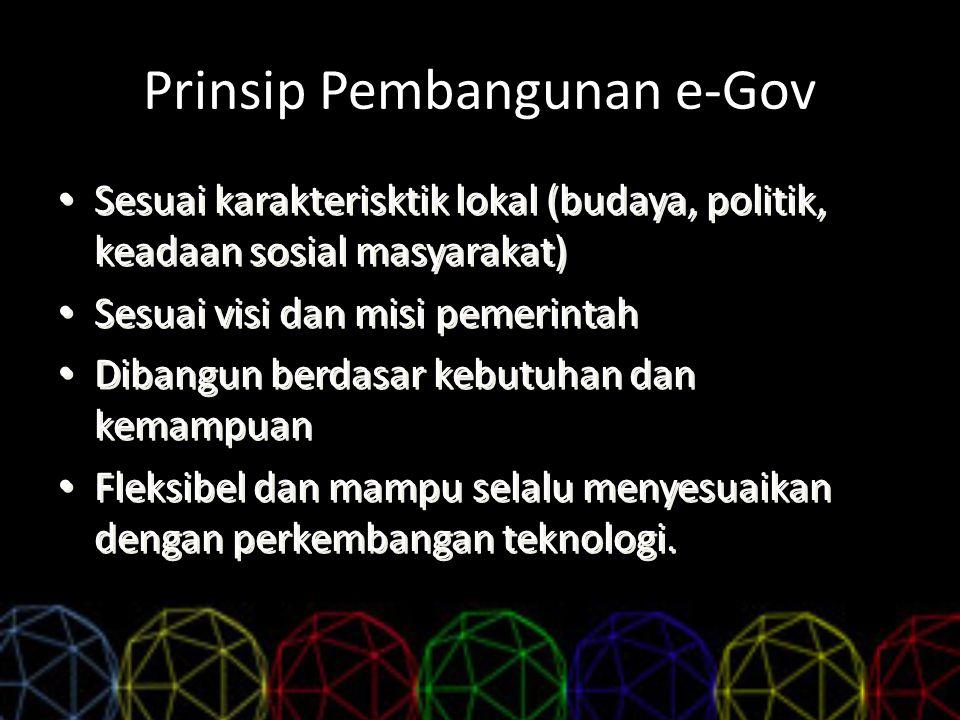 Prinsip Pembangunan e-Gov Sesuai karakterisktik lokal (budaya, politik, keadaan sosial masyarakat) Sesuai visi dan misi pemerintah Dibangun berdasar k