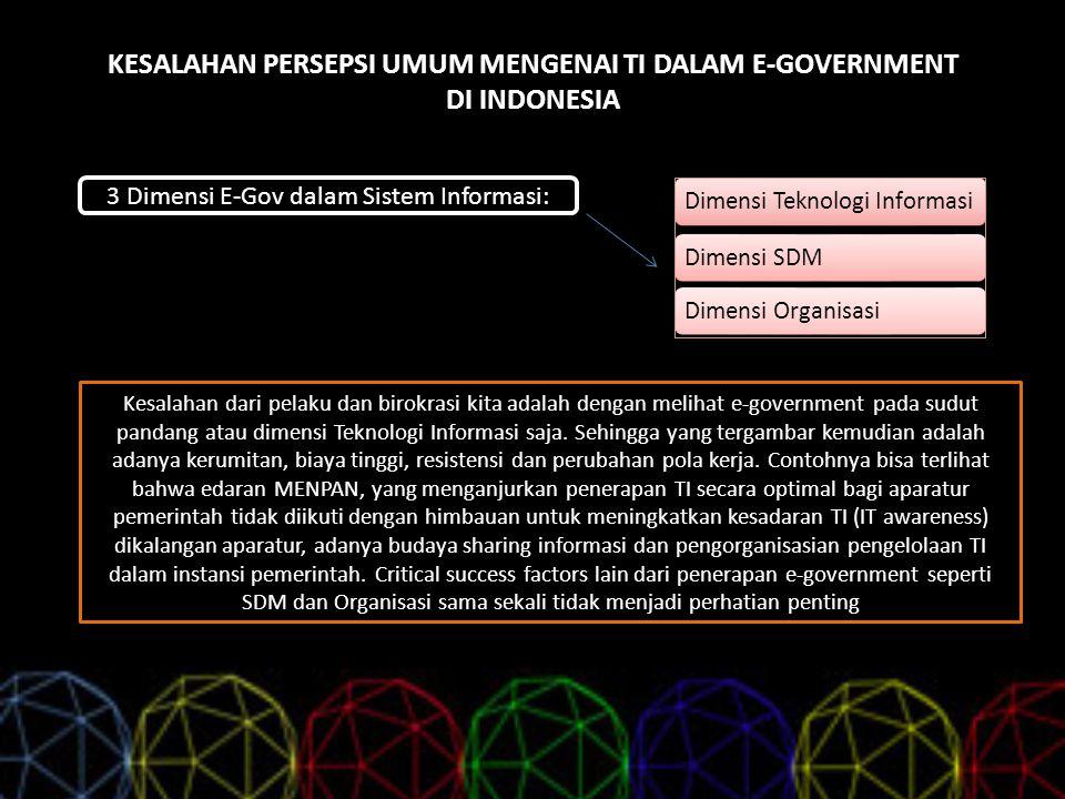 KESALAHAN PERSEPSI UMUM MENGENAI TI DALAM E-GOVERNMENT DI INDONESIA 3 Dimensi E-Gov dalam Sistem Informasi: Dimensi Teknologi InformasiDimensi SDMDime