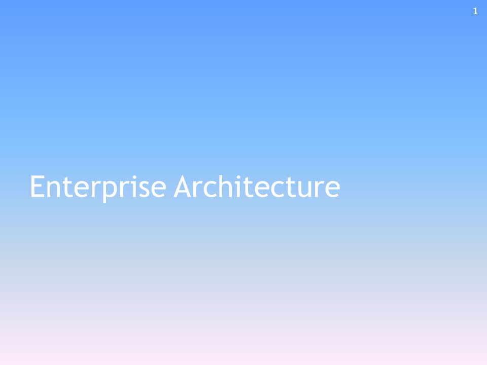Enterprise Architecture 1