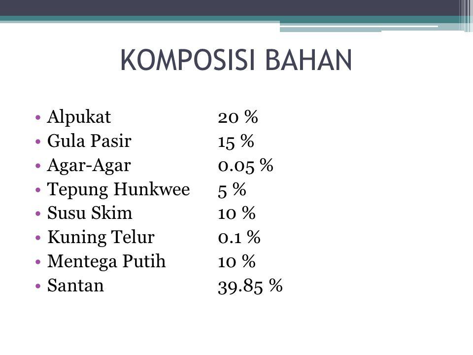 KOMPOSISI BAHAN Alpukat20 % Gula Pasir15 % Agar-Agar0.05 % Tepung Hunkwee5 % Susu Skim10 % Kuning Telur0.1 % Mentega Putih10 % Santan39.85 %