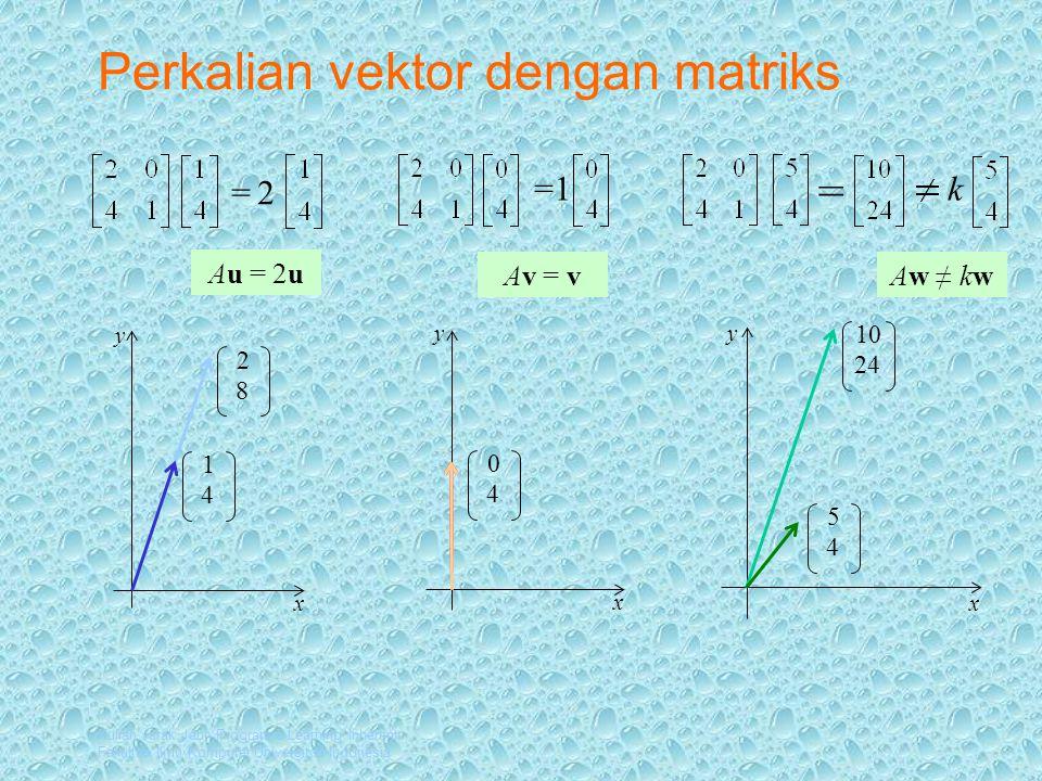 Kuliah Jarak Jauh Program e-Learning Inherent Fakultas Ilmu Komputer Universitas Indonesia Perkalian vektor dengan matriks y x 1 4 y x y x 2 8 0 4 =2 =1 = k 5 4 10 24 Au = 2u Av = vAw ≠ kw