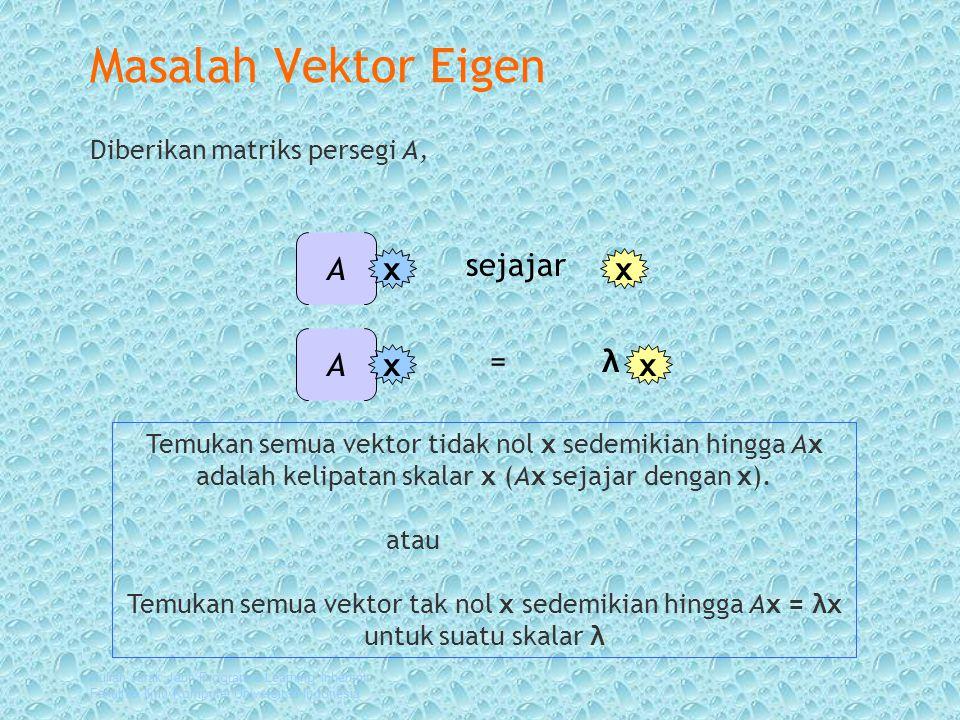 Kuliah Jarak Jauh Program e-Learning Inherent Fakultas Ilmu Komputer Universitas Indonesia Masalah Vektor Eigen Diberikan matriks persegi A, Temukan semua vektor tidak nol x sedemikian hingga Ax adalah kelipatan skalar x (Ax sejajar dengan x).