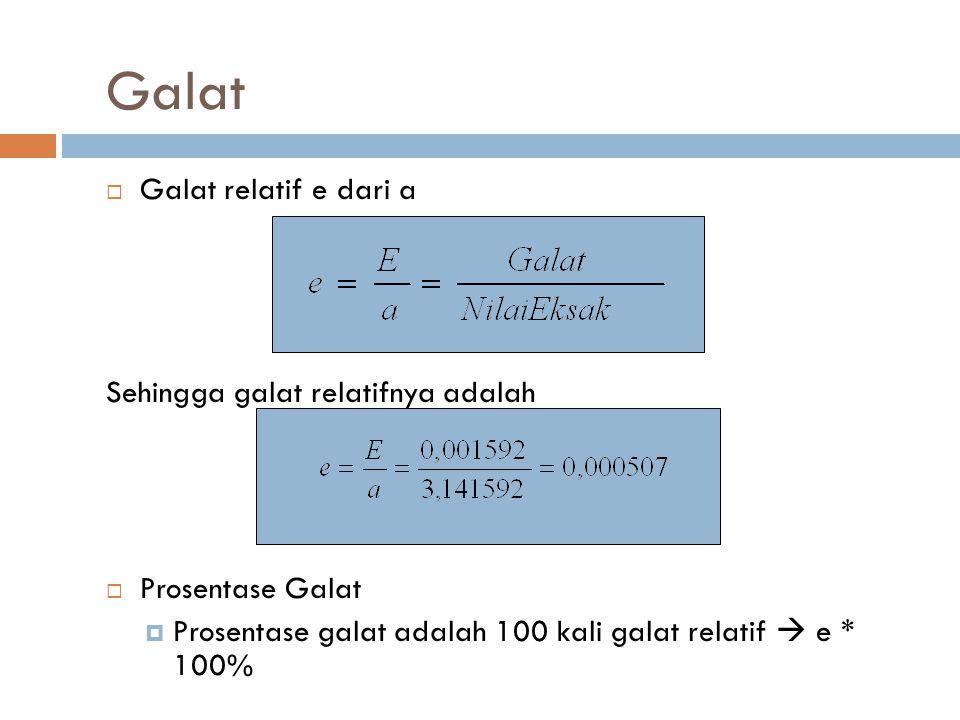 Galat  Galat relatif e dari a Sehingga galat relatifnya adalah  Prosentase Galat  Prosentase galat adalah 100 kali galat relatif  e * 100%