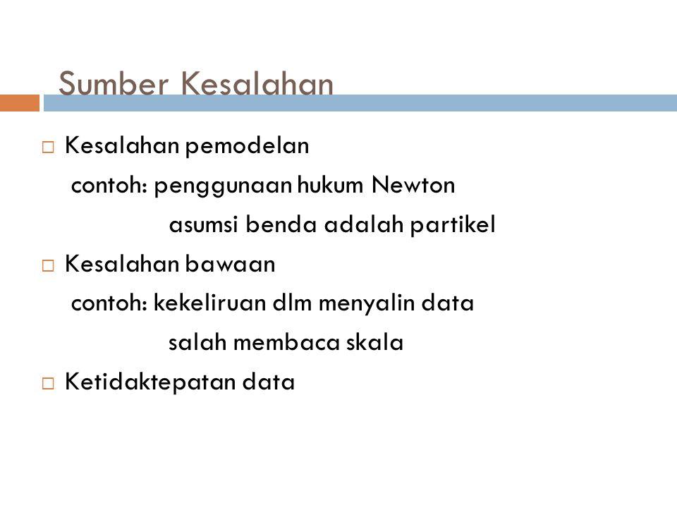 Sumber Kesalahan  Kesalahan pemodelan contoh: penggunaan hukum Newton asumsi benda adalah partikel  Kesalahan bawaan contoh: kekeliruan dlm menyalin data salah membaca skala  Ketidaktepatan data