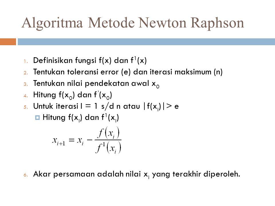 Algoritma Metode Newton Raphson 1.Definisikan fungsi f(x) dan f 1 (x) 2.
