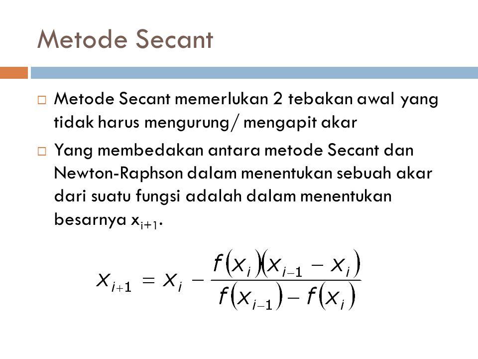 Metode Secant  Metode Secant memerlukan 2 tebakan awal yang tidak harus mengurung/ mengapit akar  Yang membedakan antara metode Secant dan Newton-Raphson dalam menentukan sebuah akar dari suatu fungsi adalah dalam menentukan besarnya x i+1.