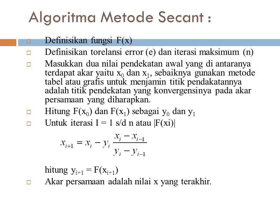 Algoritma Metode Secant :  Definisikan fungsi F(x)  Definisikan torelansi error (e) dan iterasi maksimum (n)  Masukkan dua nilai pendekatan awal yang di antaranya terdapat akar yaitu x 0 dan x 1, sebaiknya gunakan metode tabel atau grafis untuk menjamin titik pendakatannya adalah titik pendekatan yang konvergensinya pada akar persamaan yang diharapkan.