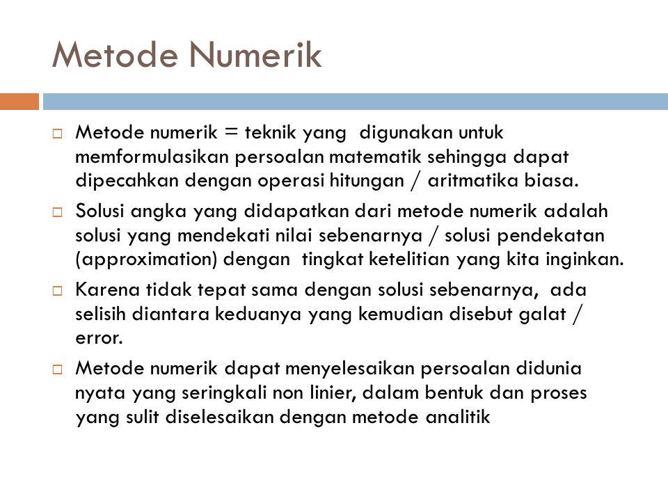 Metode Numerik  Metode numerik = teknik yang digunakan untuk memformulasikan persoalan matematik sehingga dapat dipecahkan dengan operasi hitungan / aritmatika biasa.