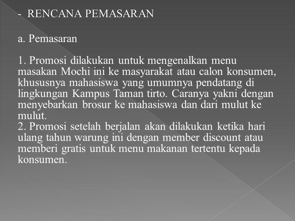 - RENCANA PEMASARAN a. Pemasaran 1. Promosi dilakukan untuk mengenalkan menu masakan Mochi ini ke masyarakat atau calon konsumen, khususnya mahasiswa