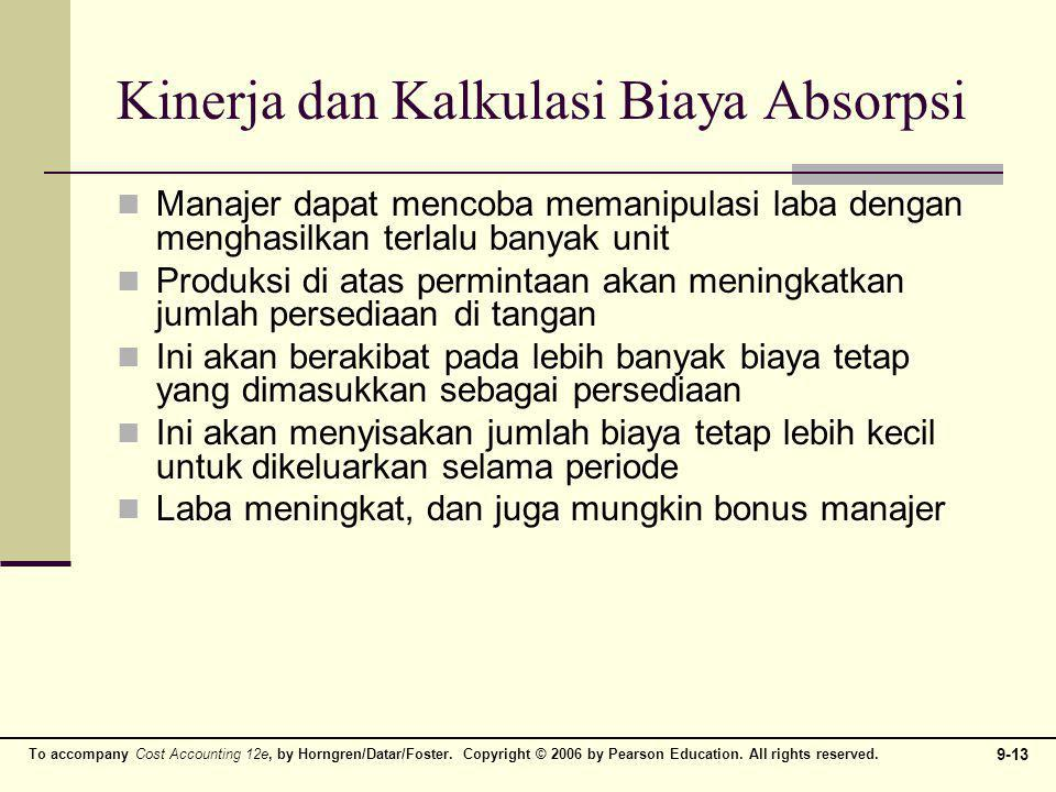 To accompany Cost Accounting 12e, by Horngren/Datar/Foster. Copyright © 2006 by Pearson Education. All rights reserved. 9-13 Kinerja dan Kalkulasi Bia