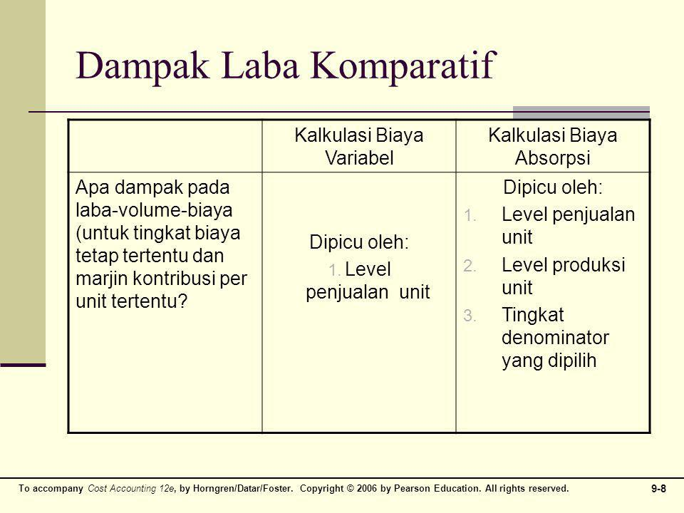 To accompany Cost Accounting 12e, by Horngren/Datar/Foster. Copyright © 2006 by Pearson Education. All rights reserved. 9-8 Dampak Laba Komparatif Kal