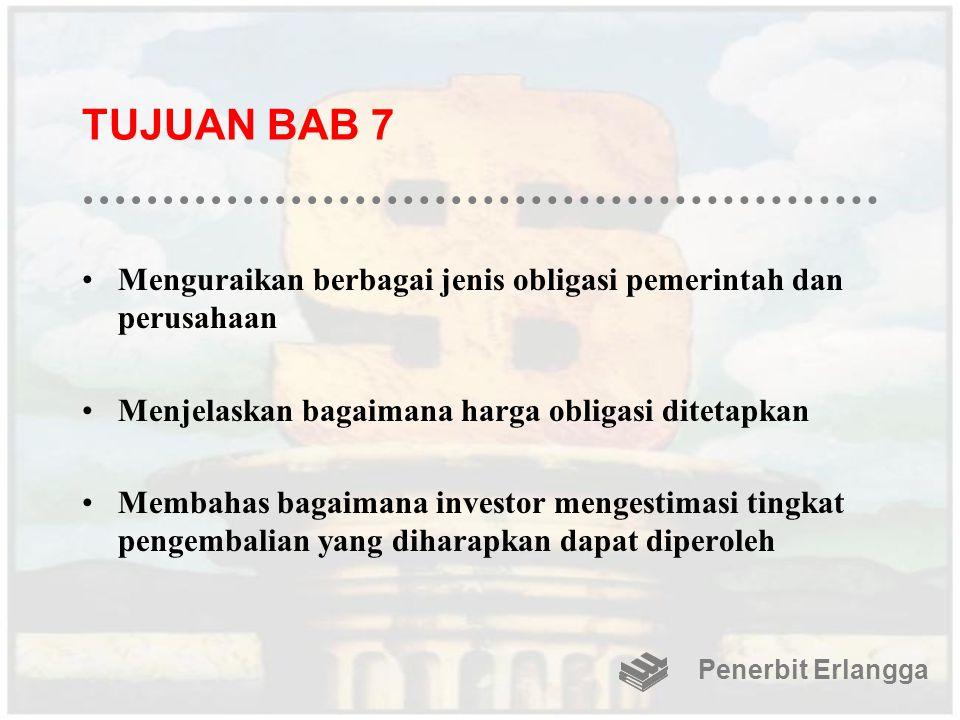 TUJUAN BAB 7 Menguraikan berbagai jenis obligasi pemerintah dan perusahaan Menjelaskan bagaimana harga obligasi ditetapkan Membahas bagaimana investor