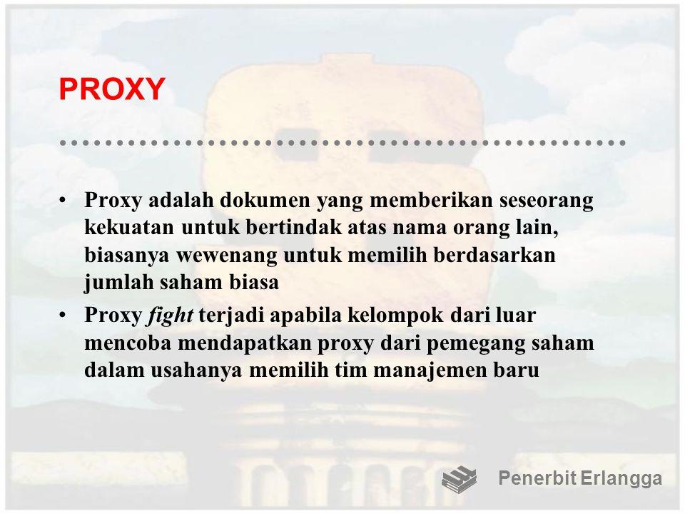 PROXY Proxy adalah dokumen yang memberikan seseorang kekuatan untuk bertindak atas nama orang lain, biasanya wewenang untuk memilih berdasarkan jumlah