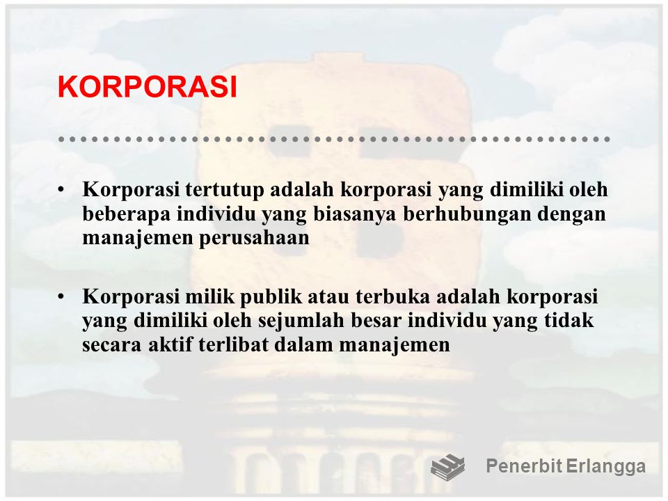 KORPORASI Korporasi tertutup adalah korporasi yang dimiliki oleh beberapa individu yang biasanya berhubungan dengan manajemen perusahaan Korporasi mil