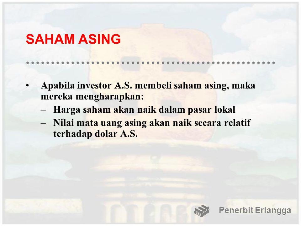 SAHAM ASING Apabila investor A.S. membeli saham asing, maka mereka mengharapkan: –Harga saham akan naik dalam pasar lokal –Nilai mata uang asing akan