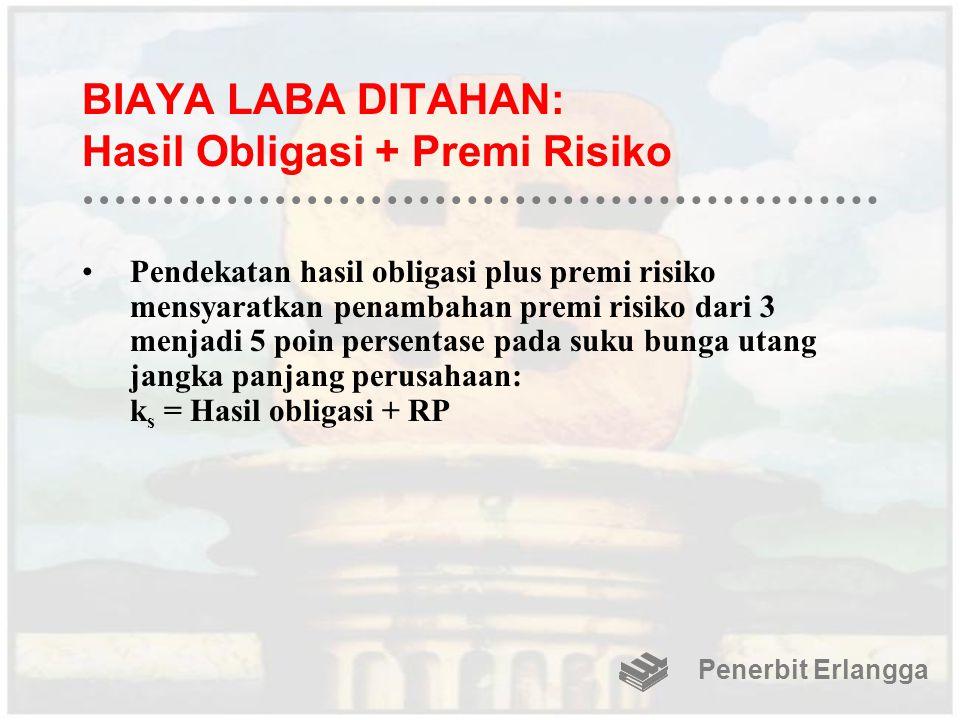 BIAYA LABA DITAHAN: Hasil Obligasi + Premi Risiko Pendekatan hasil obligasi plus premi risiko mensyaratkan penambahan premi risiko dari 3 menjadi 5 po