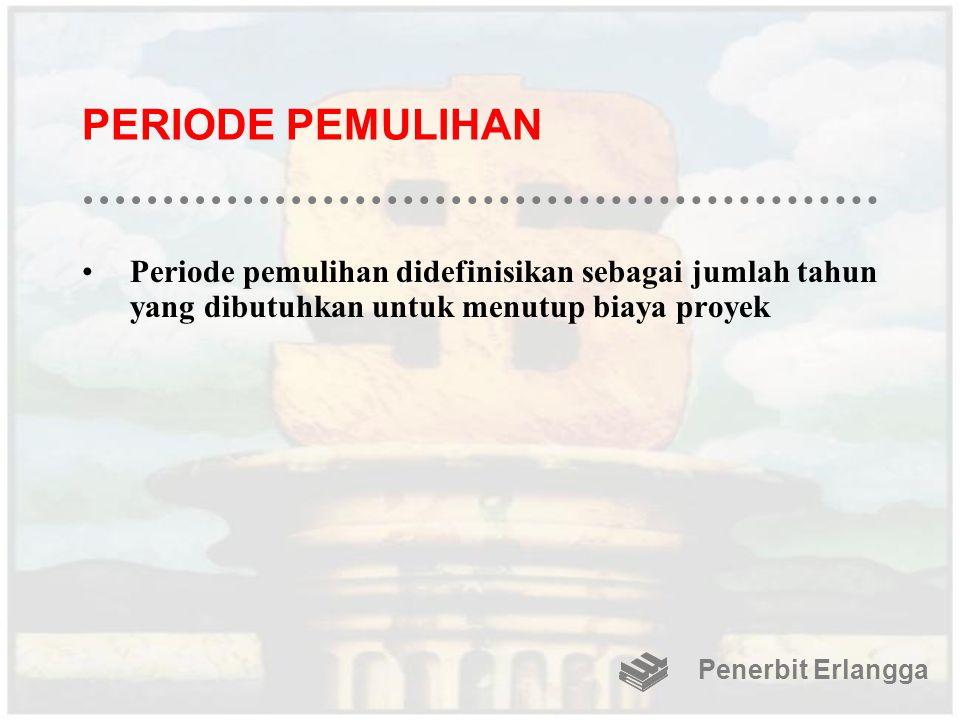PERIODE PEMULIHAN Periode pemulihan didefinisikan sebagai jumlah tahun yang dibutuhkan untuk menutup biaya proyek Penerbit Erlangga
