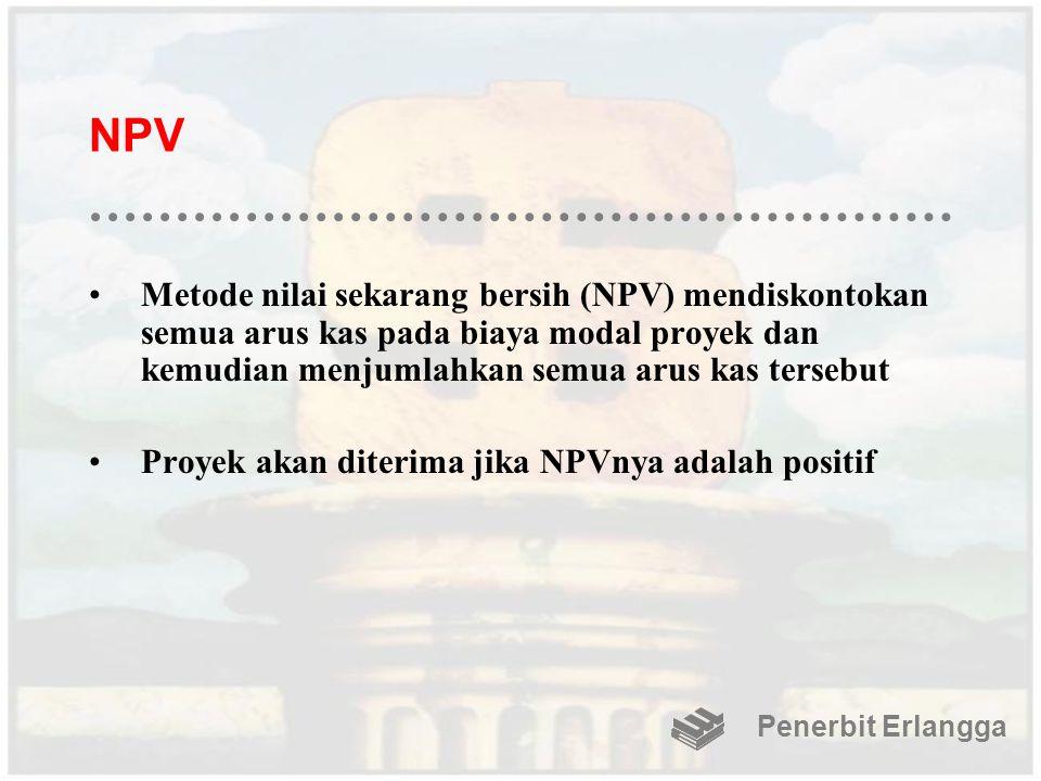 NPV Metode nilai sekarang bersih (NPV) mendiskontokan semua arus kas pada biaya modal proyek dan kemudian menjumlahkan semua arus kas tersebut Proyek