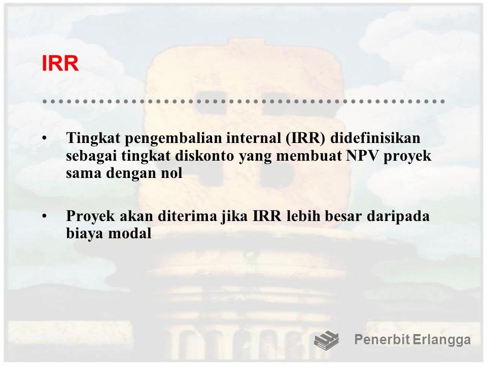 IRR Tingkat pengembalian internal (IRR) didefinisikan sebagai tingkat diskonto yang membuat NPV proyek sama dengan nol Proyek akan diterima jika IRR l