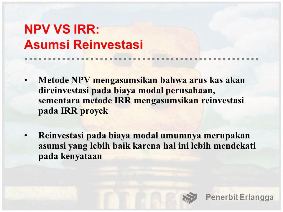 NPV VS IRR: Asumsi Reinvestasi Metode NPV mengasumsikan bahwa arus kas akan direinvestasi pada biaya modal perusahaan, sementara metode IRR mengasumsi