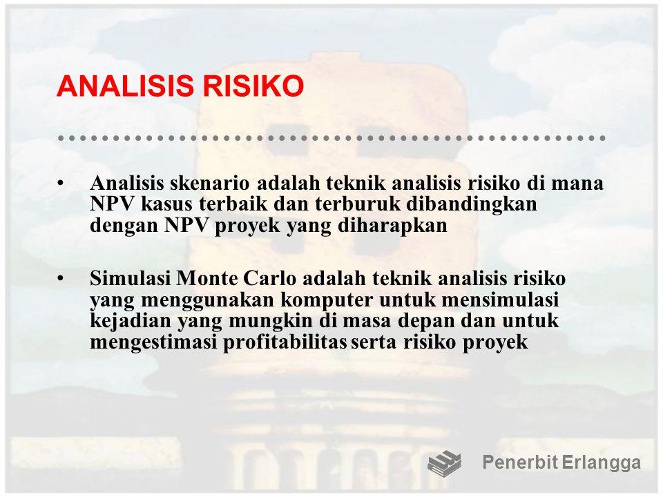 ANALISIS RISIKO Analisis skenario adalah teknik analisis risiko di mana NPV kasus terbaik dan terburuk dibandingkan dengan NPV proyek yang diharapkan