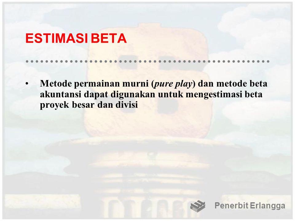 ESTIMASI BETA Metode permainan murni (pure play) dan metode beta akuntansi dapat digunakan untuk mengestimasi beta proyek besar dan divisi Penerbit Er
