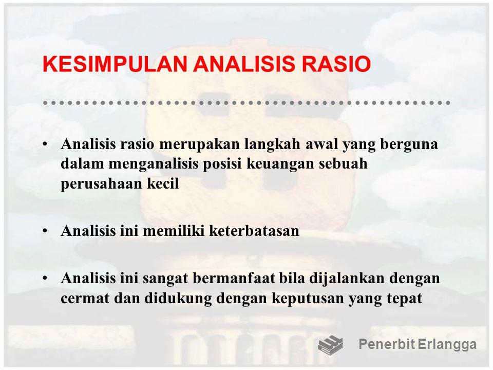KESIMPULAN ANALISIS RASIO Analisis rasio merupakan langkah awal yang berguna dalam menganalisis posisi keuangan sebuah perusahaan kecil Analisis ini m