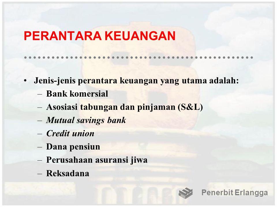 PERANTARA KEUANGAN Jenis-jenis perantara keuangan yang utama adalah: –Bank komersial –Asosiasi tabungan dan pinjaman (S&L) –Mutual savings bank –Credi