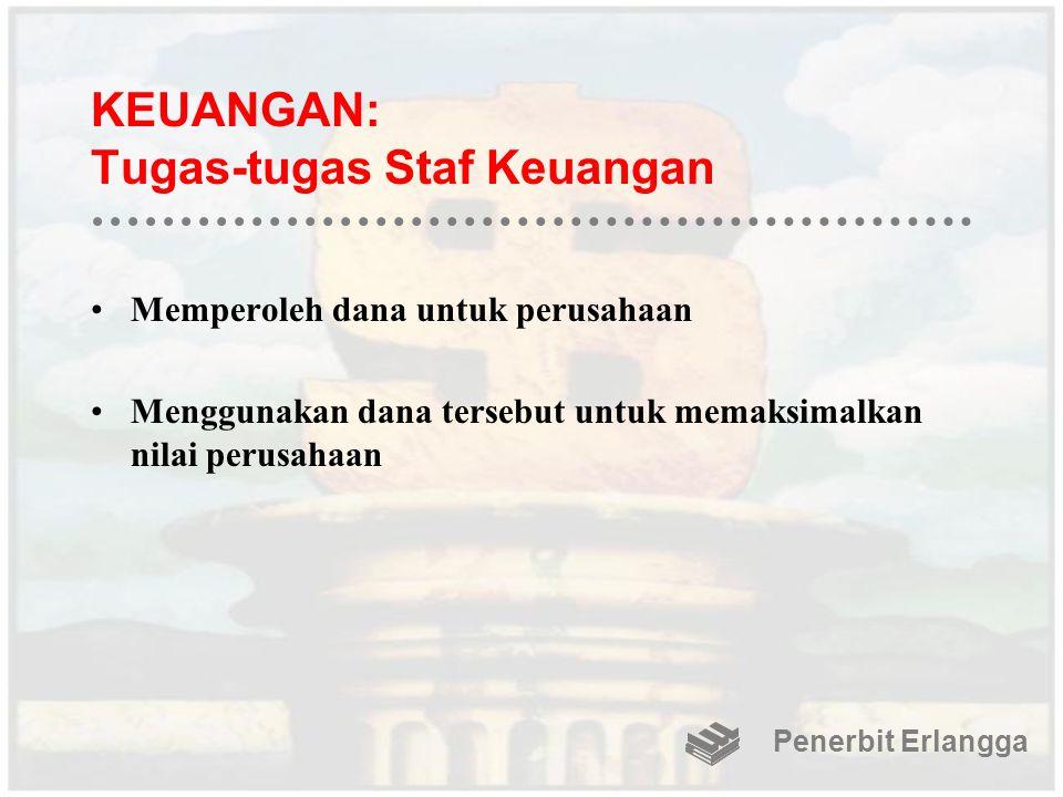 KEUANGAN: Tugas-tugas Staf Keuangan Memperoleh dana untuk perusahaan Menggunakan dana tersebut untuk memaksimalkan nilai perusahaan Penerbit Erlangga