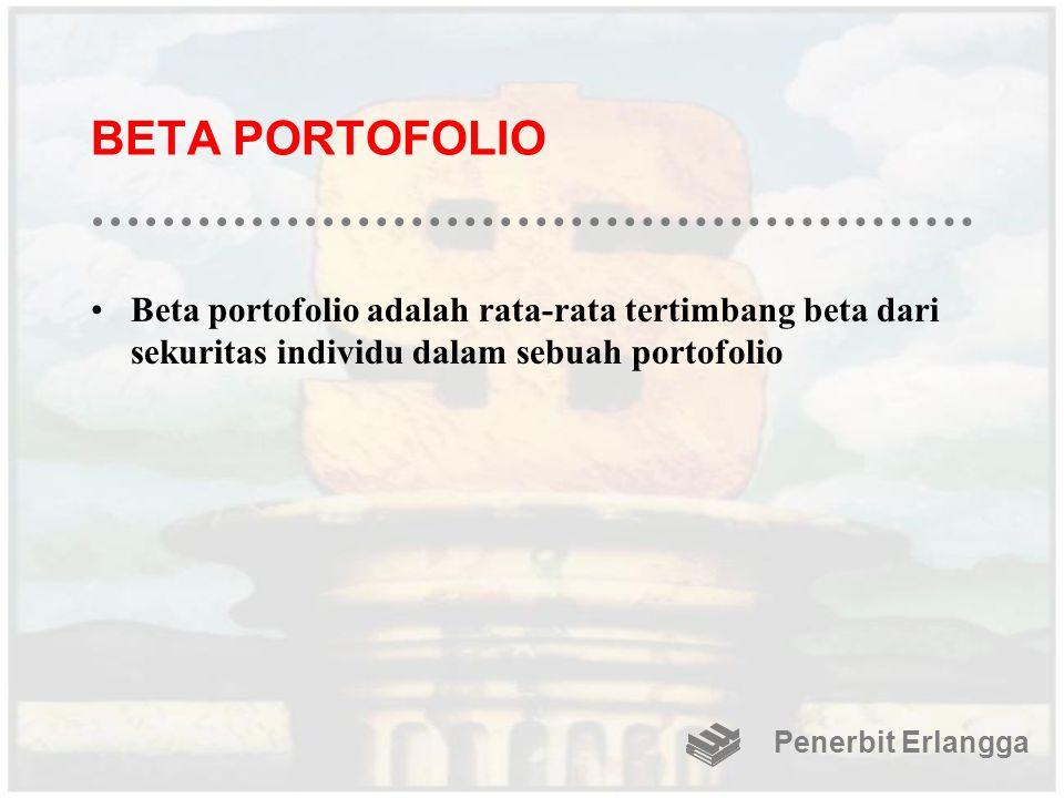 BETA PORTOFOLIO Beta portofolio adalah rata-rata tertimbang beta dari sekuritas individu dalam sebuah portofolio Penerbit Erlangga