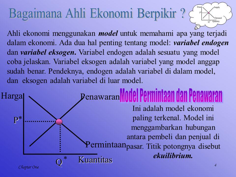 4 Chapter One Ahli ekonomi menggunakan model untuk memahami apa yang terjadi dalam ekonomi. Ada dua hal penting tentang model: variabel endogen dan va