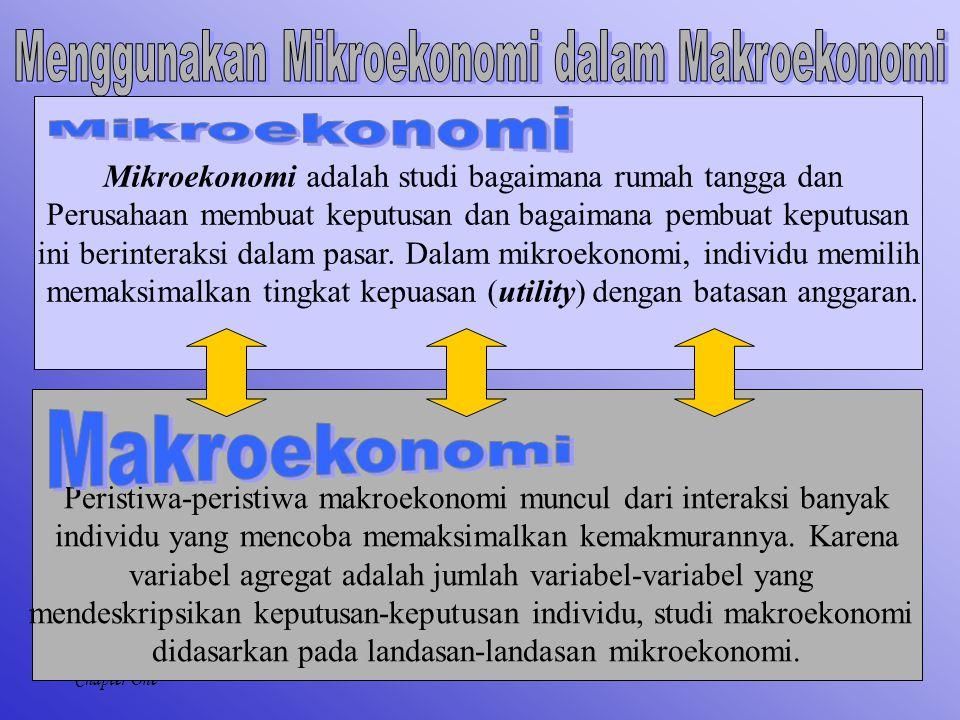 8 Chapter One Mikroekonomi adalah studi bagaimana rumah tangga dan Perusahaan membuat keputusan dan bagaimana pembuat keputusan ini berinteraksi dalam pasar.
