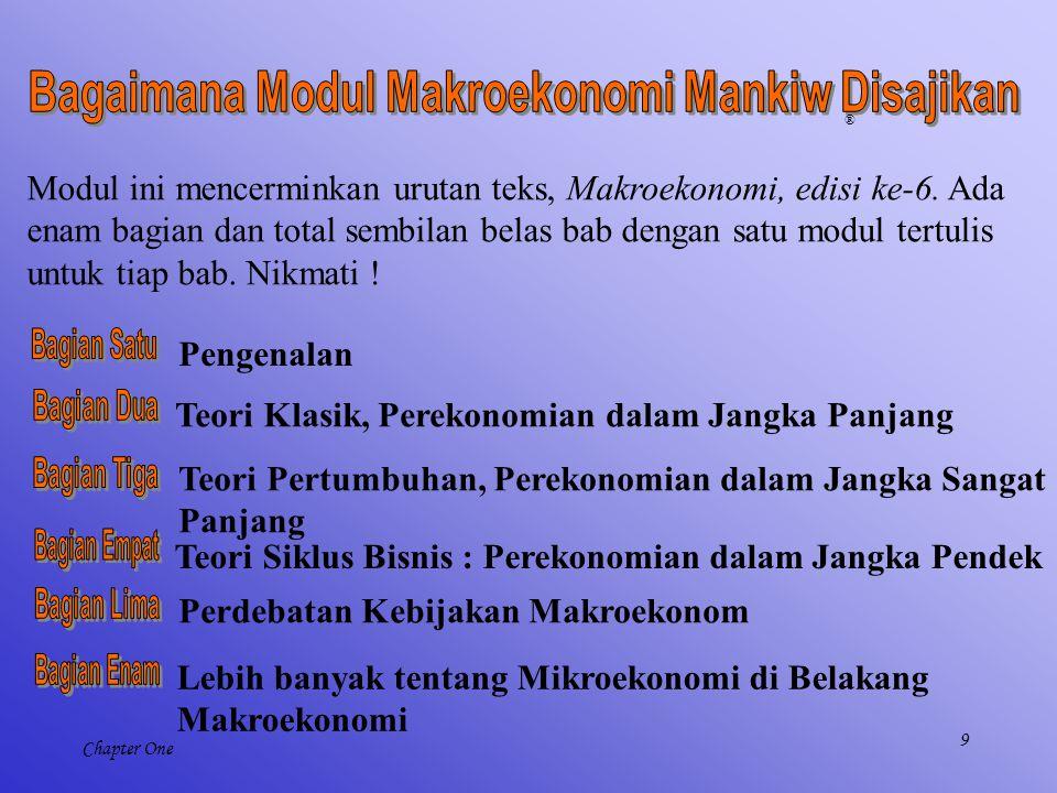 9 Chapter One Modul ini mencerminkan urutan teks, Makroekonomi, edisi ke-6. Ada enam bagian dan total sembilan belas bab dengan satu modul tertulis un