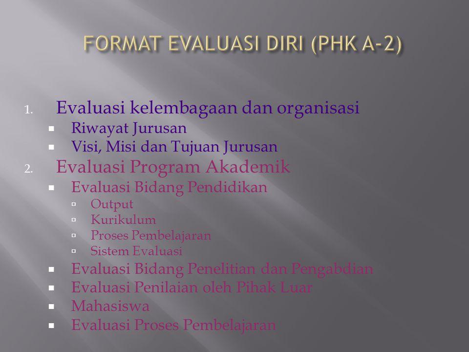1. Evaluasi kelembagaan dan organisasi  Riwayat Jurusan  Visi, Misi dan Tujuan Jurusan 2. Evaluasi Program Akademik  Evaluasi Bidang Pendidikan  O
