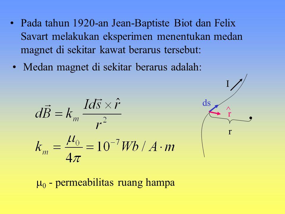 HUKUM BIOT- SAVART Tahun 1819 Hans Christian Oersted mengamati bahwa jarum kompas dapat menyimpang di atas kawat berarus Arus listrik sebagai sumber m