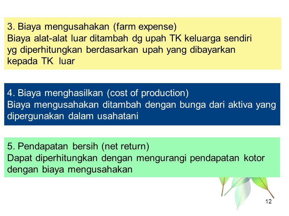 4. Biaya menghasilkan (cost of production) Biaya mengusahakan ditambah dengan bunga dari aktiva yang dipergunakan dalam usahatani 5. Pendapatan bersih