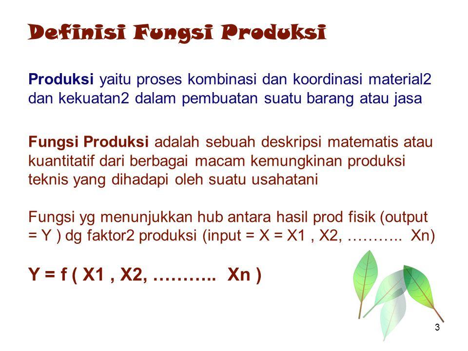 Definisi Fungsi Produksi Produksi yaitu proses kombinasi dan koordinasi material2 dan kekuatan2 dalam pembuatan suatu barang atau jasa Fungsi Produksi