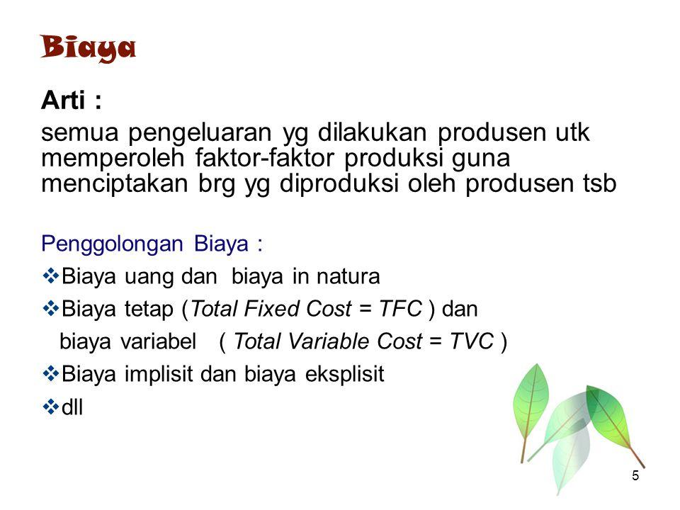 Biaya Arti : semua pengeluaran yg dilakukan produsen utk memperoleh faktor-faktor produksi guna menciptakan brg yg diproduksi oleh produsen tsb Penggo