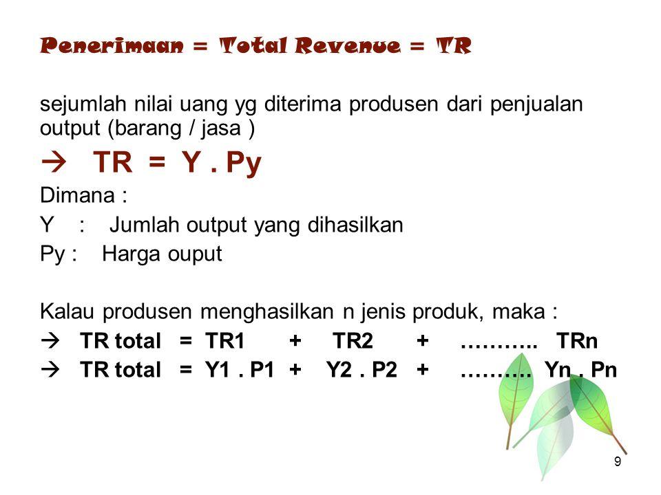 Penerimaan = Total Revenue = TR sejumlah nilai uang yg diterima produsen dari penjualan output (barang / jasa )  TR = Y. Py Dimana : Y : Jumlah outpu